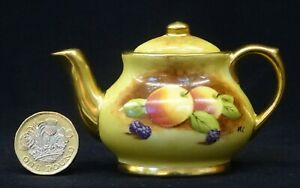 """Collectable MINIATURE Hand Painted COALPORT """"Fruit"""" TEAPOT by Michael Cooke"""