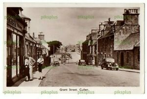 OLD POSTCARD GRANT STREET CULLEN MORAYSHIRE REAL PHOTO VINTAGE USED 1949