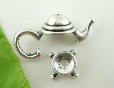 10Sets Silver Tone Teapot Bead Cap Set Findings 21x9mm