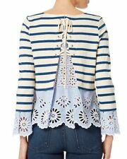 Sea Eyelet Cuff Blue/beige Stripe top, lace up back, eyelet Top Sz L Ret$360