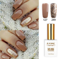2pcs RS Nail Gel Nail Polish UV LED Soak Off Brown Glitter Colour 127+249 1fl.oz