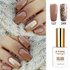 2pcs RS Nail Gel Nail Polish UV LED Soak Off Brown Glitter Colour 127+249 1fl.oz