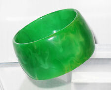 Vintage Bakelite Bracelet Bangle Green Grass Marble extra wide shape