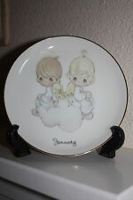 Precious Moments Collector Plate of the Month.January w/easel