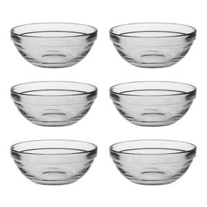 Duralex Set of 6 Lys Round Stacking Bowl, 12cm Serving Dish Glass Stackable