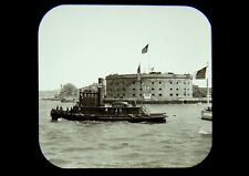 Magic Lantern Slide Tugboat Buffalo Erie Railroad Governors Island NY 1890s rare