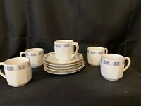 ANTIQUE GERMAN PORCELAIN DEMITASSE CUPS AND SAUCERS,SET OF 5 RARE WEI126