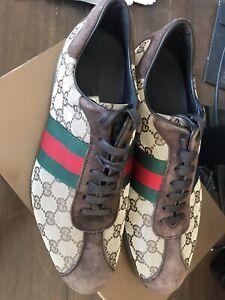 Gucci Men's Shoe 117711 GG/Suede/Nylon Beige Size Mens
