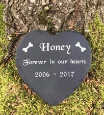 Personalised Engraved Slate Stone Heart Pet Memorial Grave Marker Plaque Dog Pet