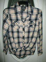 Angie Button Up Top Long Sleeve Blue & Pale Pink Plaid Women's Small