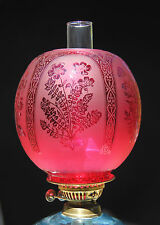"""OIL LAMP SHADE - Large Ball Ruby 4"""" Fit"""