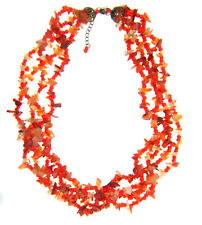 Vtg Carnelian Chip Orange Glass Bead Multi Strand Necklace  19-21""