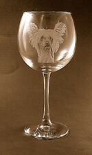 New Etched Chinese Crested on Large Elegant Wine Glasses - Set of 2