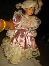 GORGEOUS VINTAGE VICTORIAN PORCELAIN DOLL W/ PURPLE DRESS W. WHITE LACE & PEARLS
