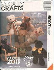 McCalls 6907 Carols Zoo Plush Animal Bear Rabbit Bunny Lamb pattern UNCUT FF