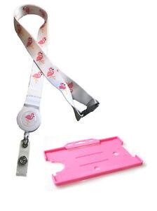 Flamingo Bird Print Safari Badge Reel Lanyard with Matching Pink Card Holder