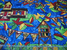 3 Yards Quilt Cotton Fabric - Hoffman Autumn is for Birds Stained Glass Scenic
