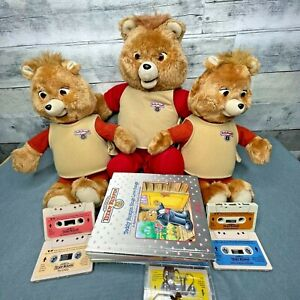 Vintage 16 pieces Teddy Ruxpin Bear Plush Doll Lot 3 Bears 5 Tapes 8 Books WOW