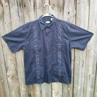 Men's Clear Blue Sky Cotton Blend Short Sleeve Guayabera Shirt Size Large NWT