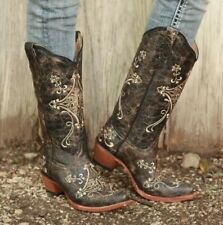 Circle G Corral Boots L5048 brown crackle/bone Leather Cowboy Size 8.5