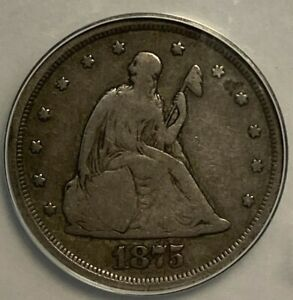 1875 S ANACS VG8 Seated Liberty US Silver Twenty Cent Piece 20C