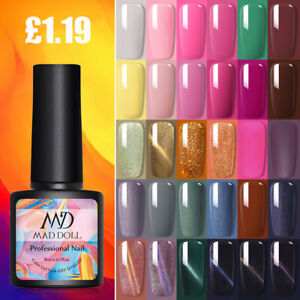 MAD DOLL Nail Gel Polish Soak Off UV LED Colour Decors Base Top Matte Coat 8ml