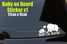 Baby on Board Elephant Decal Sticker, Laptop, Window, Car, Van, Bumper, (Style2)