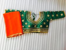 indian bollywood SARI designer READYMADE  choli blouse pure georgette saree