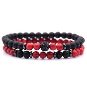 Fashion Men Cubic Zirconia Ball Bracelet Natural Matte Onyx Charm Bracelet Set