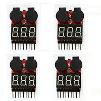 4pcs 1-8S 2 in1 RC Li-ion Lipo Battery Low Voltage Meter Tester Buzzer Alarm NE