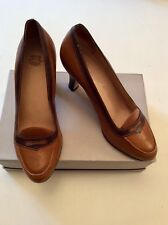 LAURA ASHLEY TAN & DARK BROWN LEATHER HEEL COURT SHOES SIZE 6/39