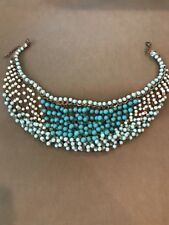 Beaded Necklace Mint Green Aqua Cream Gold Tone Layered