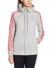 Ladies Women's New Adidas Zip Hoody Hooded Sweater Hoodie Jumper Pullover - Grey