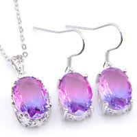Gorgeous 2 pcs 1 Lot Bi Colored Tourmaline Gemstone Silver Pendant Earrings Set