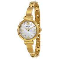 Bulova Women's Quartz Mother of Pearl Dial Gold-Tone Bracelet 30mm Watch 97L136
