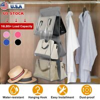 Hanging Handbag Organizer 6 Pockets Closet Storage Shelves Holder Hanging Shelf