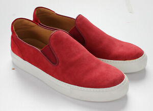 NWT $750 ISAIA NAPOLI SLIP ON SNEAKERS red suede leather luxury Italy us 10
