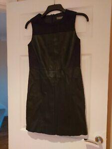 Ladies Sleeveless Faux Leather Black Mini Dress Oasis Size 8