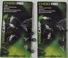 KING CARP CHOD RIG BARBLESS INCLUDING BAIT SCREWS - SIZE 6 OR 8 (3 PER PACK)