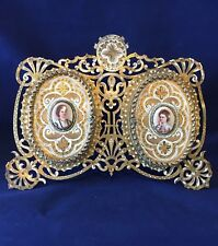 ANTIQUE ENAMELED DOUBLE PICTURE FRAME WITH GORGEOUS PORCELAINS