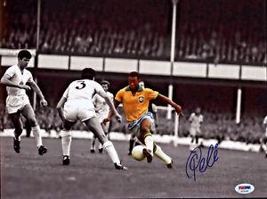 Pele Signed 11x14 Soccer Photo Brazil Spotlight - Autographed PSA/DNA COA