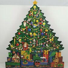 "BYERS' CHOICE Wooden Christmas Tree  Advent  Calendar 20"" High 18"" Wide - 2012"