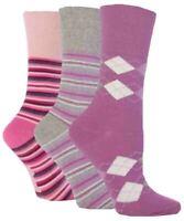 3 Pairs Ladies Gentle Grip Non Elastic Cotton Socks Selection Mix 16, Size 4-8