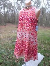 NWT Sz 2 Calvin KleinFloral Ombre Flare Dress Red Coral Chiffon Sleeveless