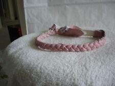 Handmade Women's girl's pink leather braided headband by Jacqui Chazen - NWOT