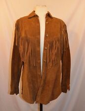 J.H. Collectibles Leather Fringe Jacket Sz 10 Shirt Top Vtg 70's Western Costume
