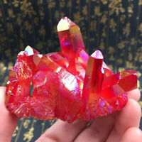 Natürlich Rot Kristall Quartz Cluster Juwel Stein Reiki Heilung Mineral Probe
