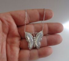 BUTTERFLY NECKLACE PENDANT W/ MOTHER OF PEARL & LAB DIAMONDS/ STERLING SILVER
