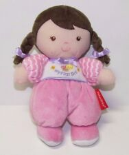 Fisher Price My First Doll rattle soft cloth baby doll brown hair style 85797