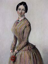 19th Century French Bourgeois Romantic Theme la grisette  Hand Colored Engraving